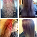 Haircut with color correction and keratin conditioning treatment.