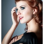 Pinup style half updo.