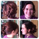 Updo and makeup application for engagement photos.